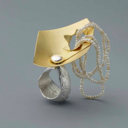 Johanna Dahm, ring, Enhancement, 2012, silver,gold, pearls