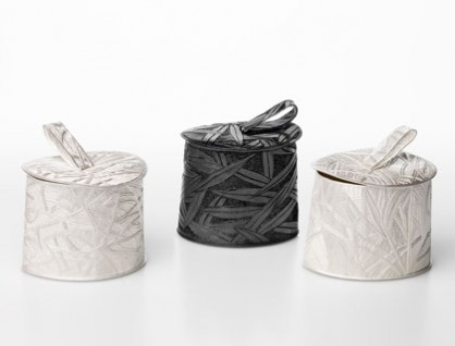 Julie Blyfield, <em>Stick, Quandong, Gum trunks,</em> storage containers, oxdised sterling silver and sterling silver, 2015