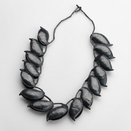Julie Blyfield, <em>Silky Oak</em>, neckpiece, oxidised sterling silver, silk thread, archival wax, 2015