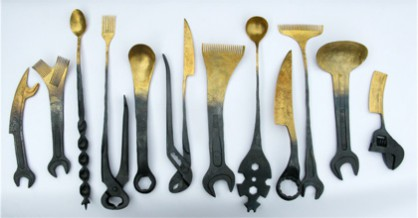 Nils Hint, eating tools, goldplated iron